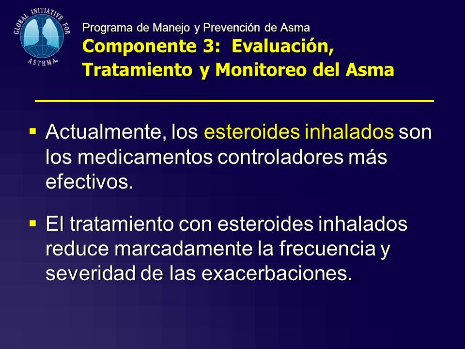 Programa de Manejo y Prevención de Asma Componente 3: Evaluación, Tratamiento y Monitoreo del Asma Actualmente, los esteroides inhalados son los medic