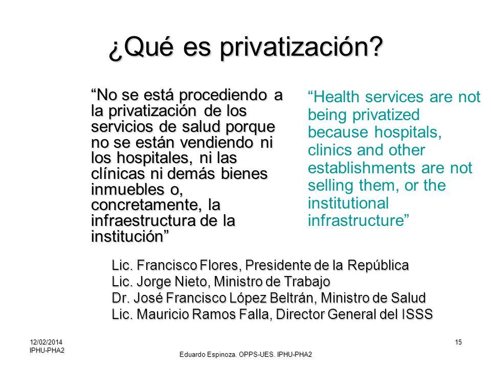 12/02/2014IPHU-PHA215 ¿Qué es privatización? No se está procediendo a la privatización de los servicios de salud porque no se están vendiendo ni los h