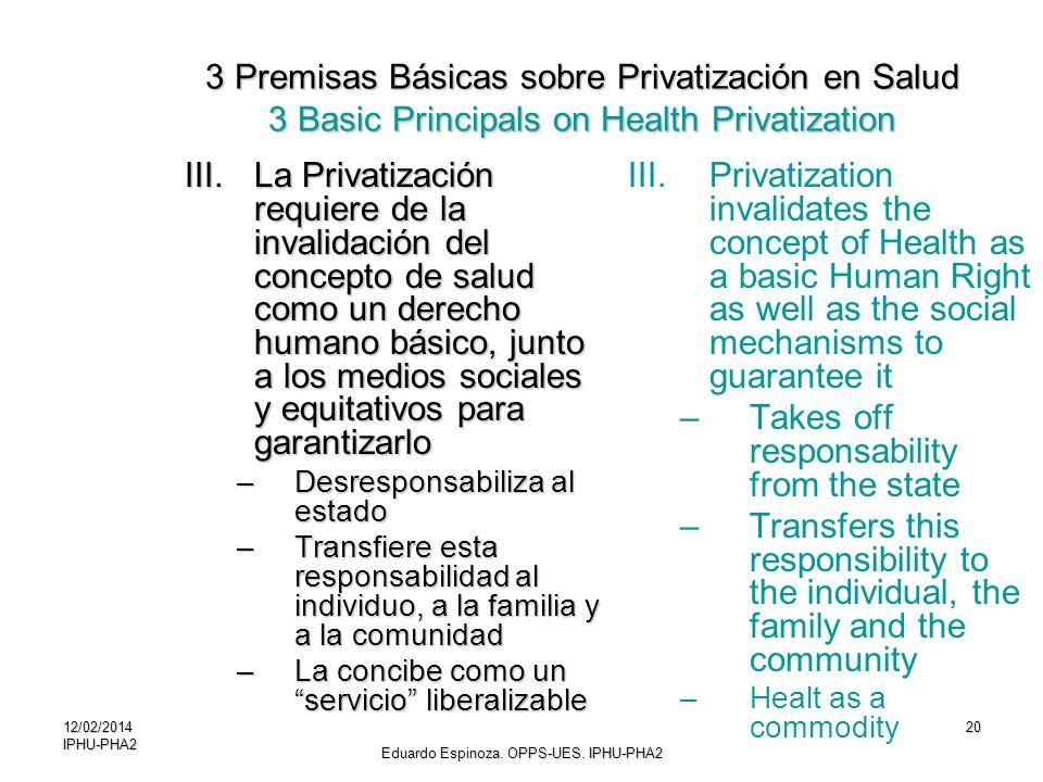 12/02/2014IPHU-PHA220 III.La Privatización requiere de la invalidación del concepto de salud como un derecho humano básico, junto a los medios sociale