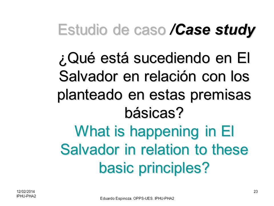 12/02/2014IPHU-PHA223 ¿Qué está sucediendo en El Salvador en relación con los planteado en estas premisas básicas? What is happening in El Salvador in