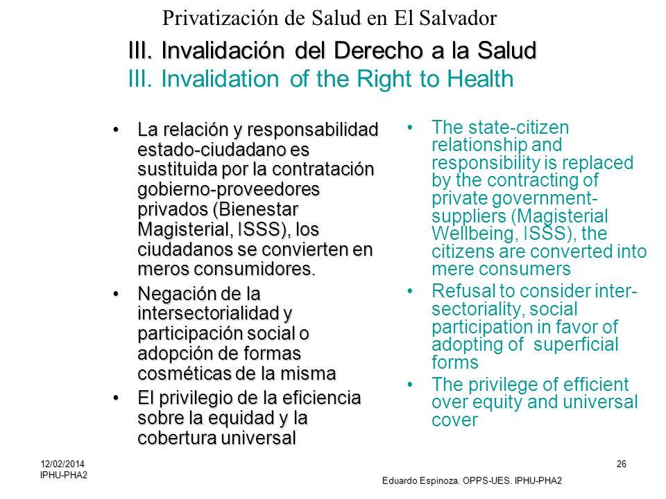 12/02/2014IPHU-PHA226 III. Invalidación del Derecho a la Salud III. Invalidación del Derecho a la Salud III. Invalidation of the Right to Health La re