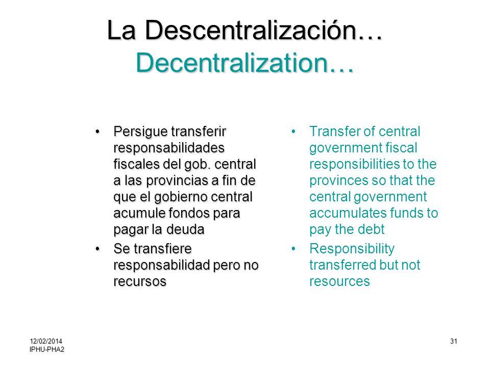 31 La Descentralización… Decentralization… Persigue transferir responsabilidades fiscales del gob. central a las provincias a fin de que el gobierno c