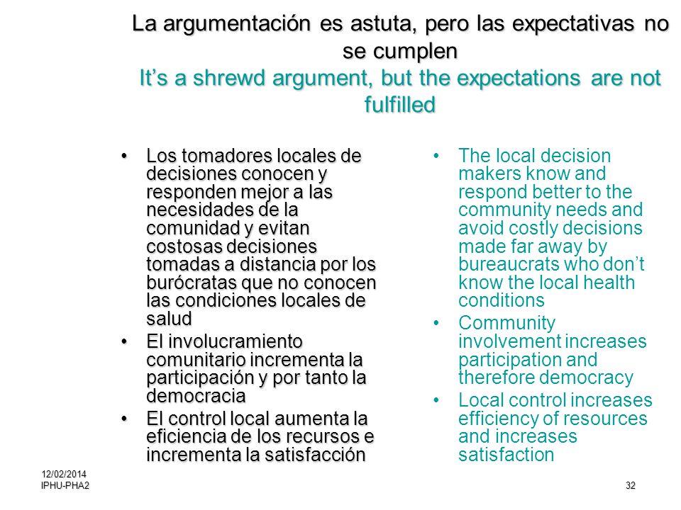 32 La argumentación es astuta, pero las expectativas no se cumplen Its a shrewd argument, but the expectations are not fulfilled Los tomadores locales