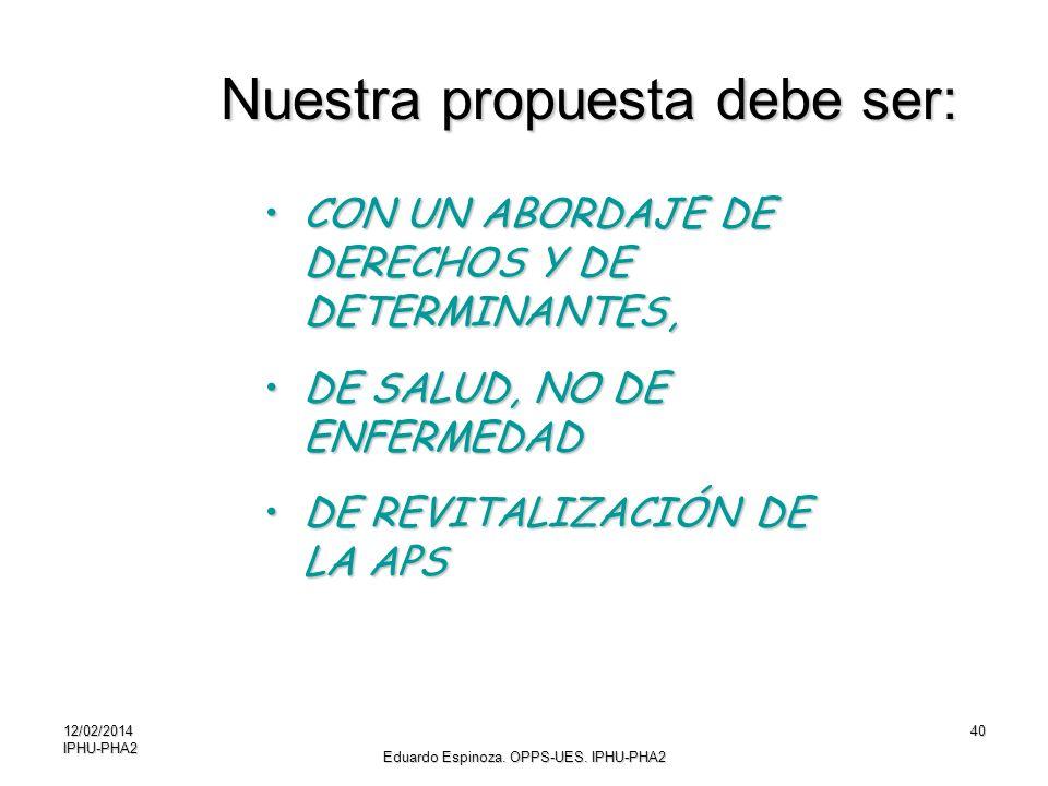 Nuestra propuesta debe ser: CON UN ABORDAJE DE DERECHOS Y DE DETERMINANTES,CON UN ABORDAJE DE DERECHOS Y DE DETERMINANTES, DE SALUD, NO DE ENFERMEDADD