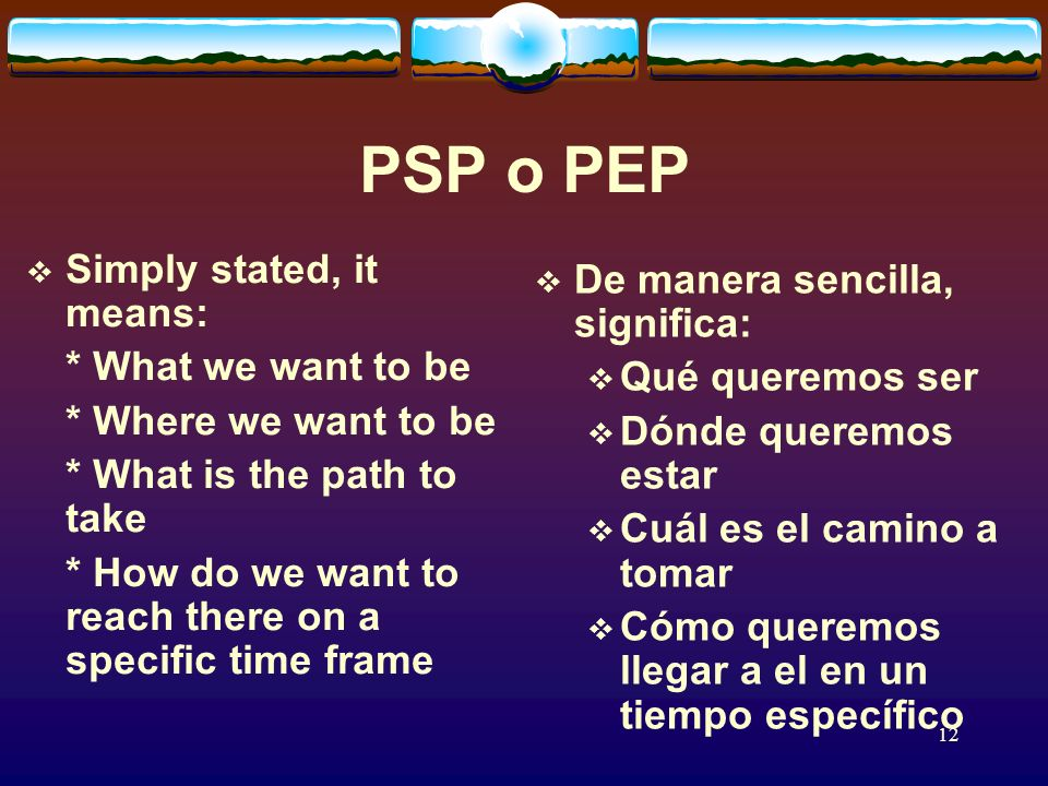 12 PSP o PEP Simply stated, it means: * What we want to be * Where we want to be * What is the path to take * How do we want to reach there on a specific time frame De manera sencilla, significa: Qué queremos ser Dónde queremos estar Cuál es el camino a tomar Cómo queremos llegar a el en un tiempo específico