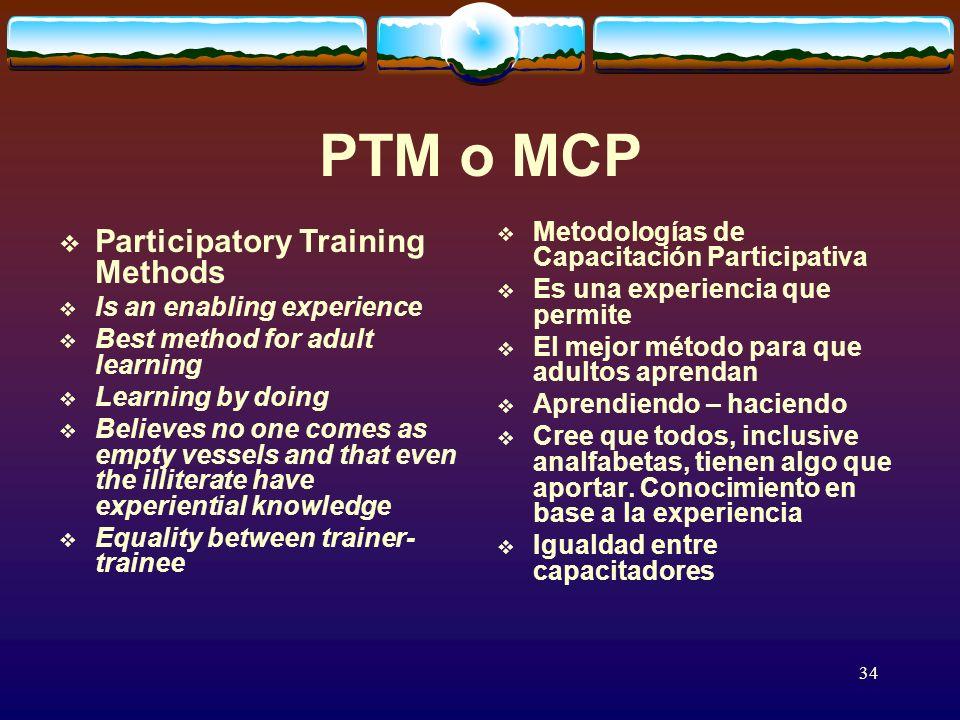 34 PTM o MCP Metodologías de Capacitación Participativa Es una experiencia que permite El mejor método para que adultos aprendan Aprendiendo – haciendo Cree que todos, inclusive analfabetas, tienen algo que aportar.
