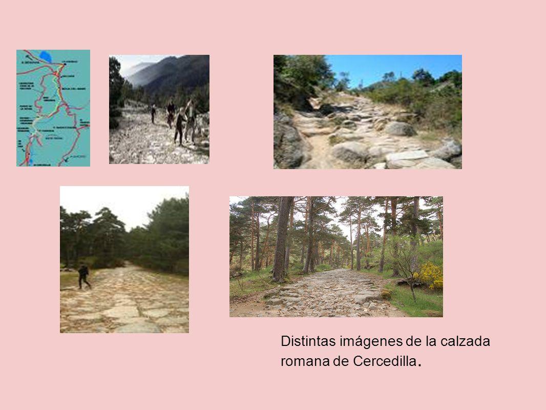 Distintas imágenes de la calzada romana de Cercedilla.