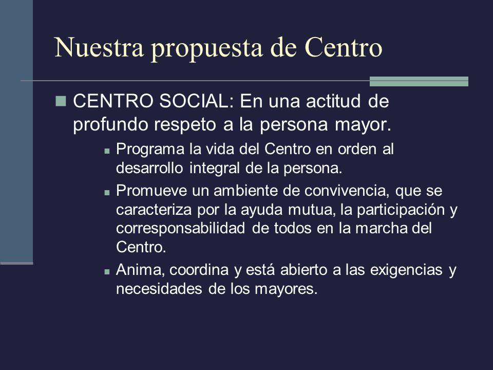 Nuestra propuesta de Centro CENTRO SOCIAL: En una actitud de profundo respeto a la persona mayor. Programa la vida del Centro en orden al desarrollo i