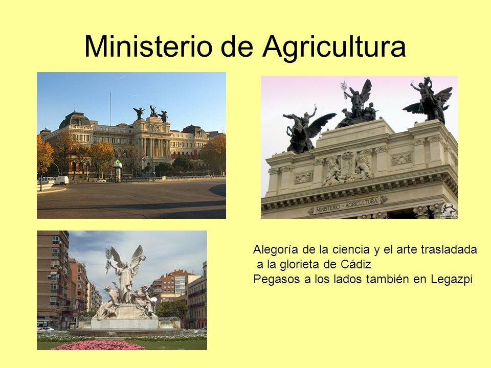 Ministerio de Agricultura Alegoría de la ciencia y el arte trasladada a la glorieta de Cádiz Pegasos a los lados también en Legazpi