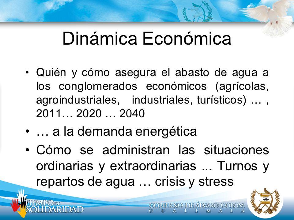Dinámica Económica Quién y cómo asegura el abasto de agua a los conglomerados económicos (agrícolas, agroindustriales, industriales, turísticos) …, 20