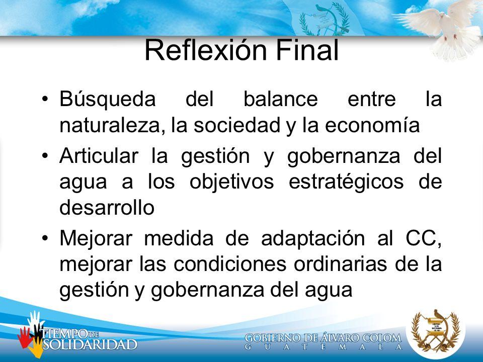 Reflexión Final Búsqueda del balance entre la naturaleza, la sociedad y la economía Articular la gestión y gobernanza del agua a los objetivos estraté