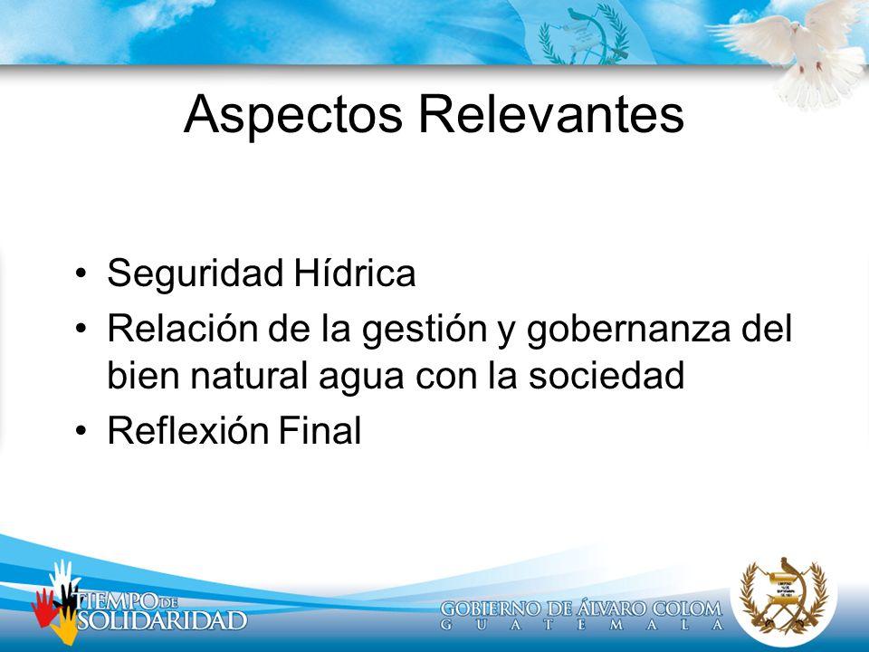 Aspectos Relevantes Seguridad Hídrica Relación de la gestión y gobernanza del bien natural agua con la sociedad Reflexión Final