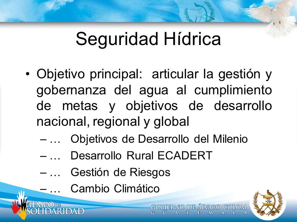 Seguridad Hídrica Objetivo principal: articular la gestión y gobernanza del agua al cumplimiento de metas y objetivos de desarrollo nacional, regional
