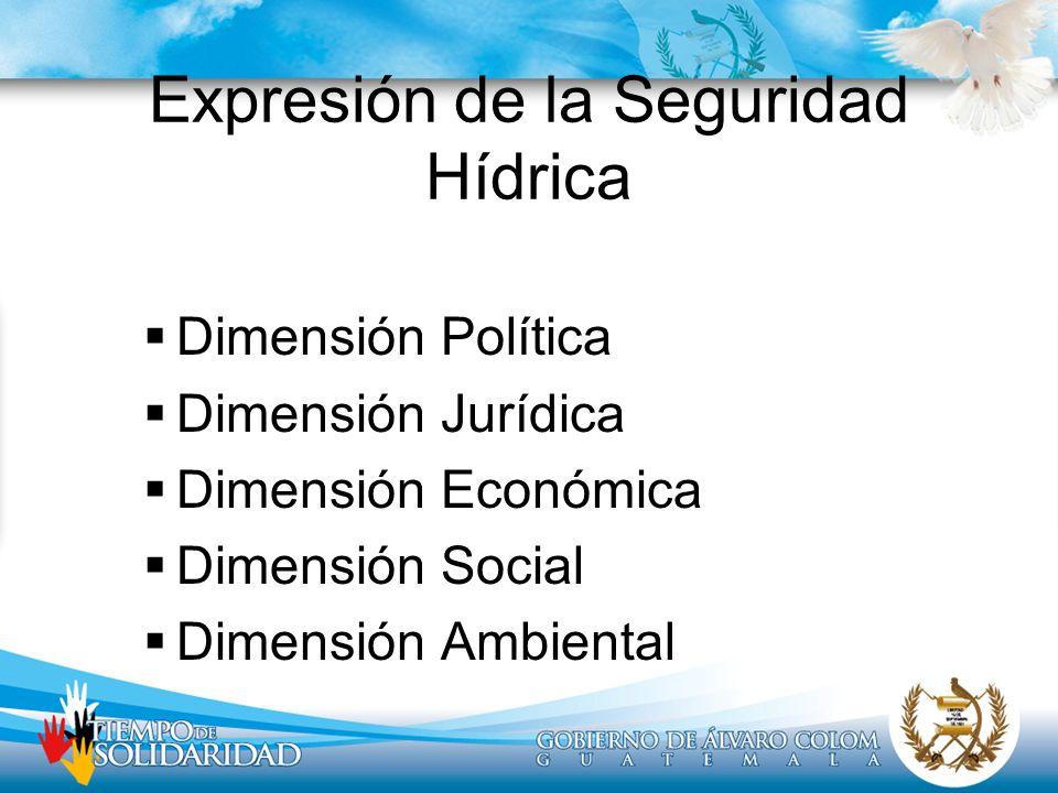Expresión de la Seguridad Hídrica Dimensión Política Dimensión Jurídica Dimensión Económica Dimensión Social Dimensión Ambiental