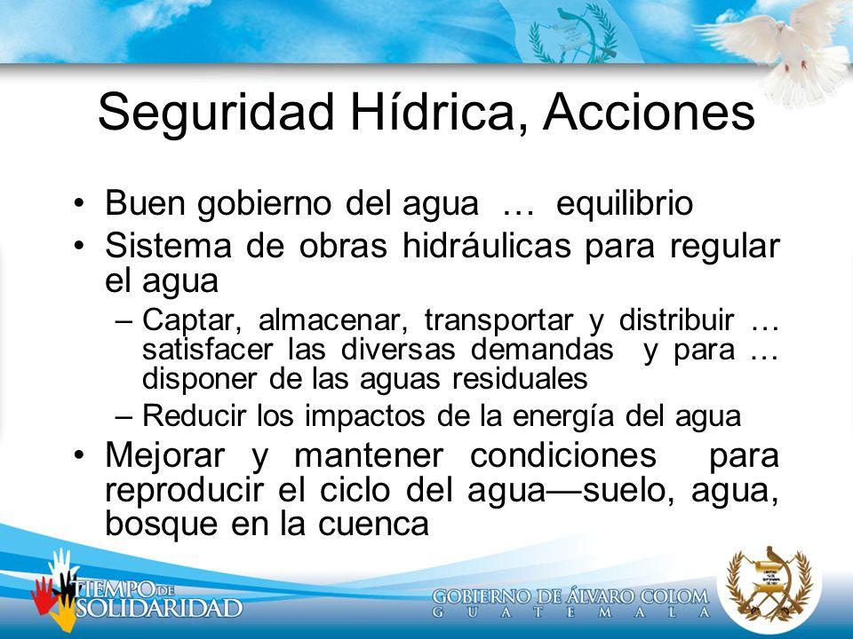 Seguridad Hídrica, Acciones Buen gobierno del agua … equilibrio Sistema de obras hidráulicas para regular el agua –Captar, almacenar, transportar y di