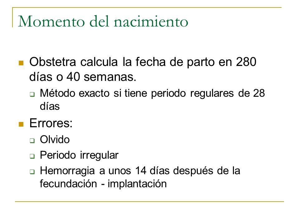 Momento del nacimiento Obstetra calcula la fecha de parto en 280 días o 40 semanas. Método exacto si tiene periodo regulares de 28 días Errores: Olvid