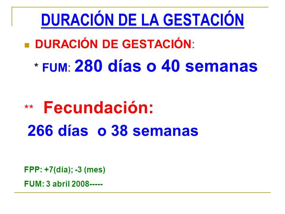 DURACIÓN DE LA GESTACIÓN DURACIÓN DE GESTACIÓN: * FUM: 280 días o 40 semanas ** Fecundación: 266 días o 38 semanas FPP: +7(día); -3 (mes) FUM: 3 abril