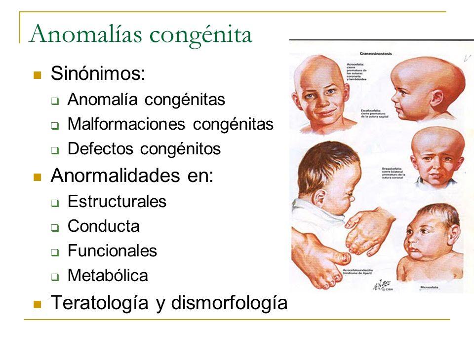 Anomalías congénita Sinónimos: Anomalía congénitas Malformaciones congénitas Defectos congénitos Anormalidades en: Estructurales Conducta Funcionales