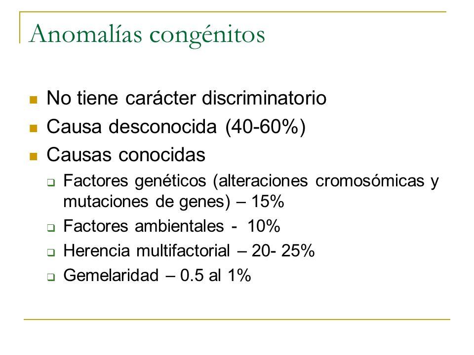 Anomalías congénitos No tiene carácter discriminatorio Causa desconocida (40-60%) Causas conocidas Factores genéticos (alteraciones cromosómicas y mut