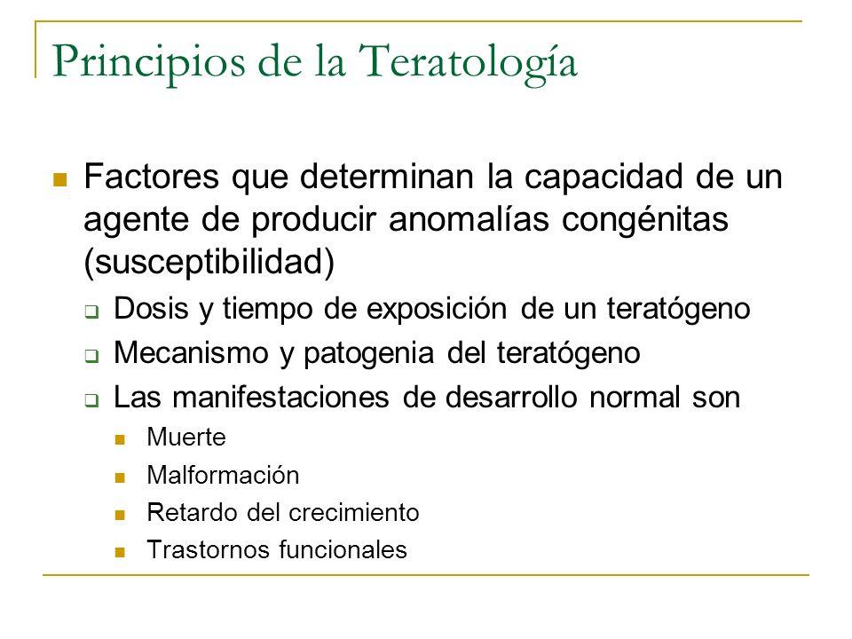 Principios de la Teratología Factores que determinan la capacidad de un agente de producir anomalías congénitas (susceptibilidad) Dosis y tiempo de ex