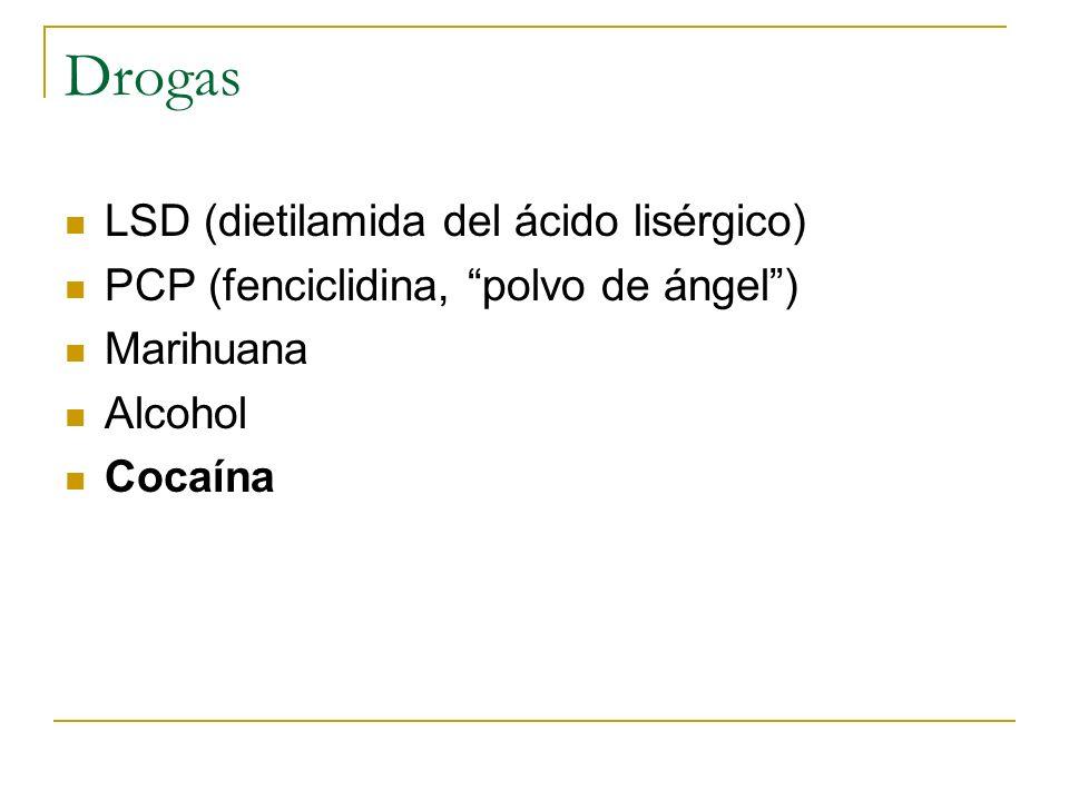 Drogas LSD (dietilamida del ácido lisérgico) PCP (fenciclidina, polvo de ángel) Marihuana Alcohol Cocaína