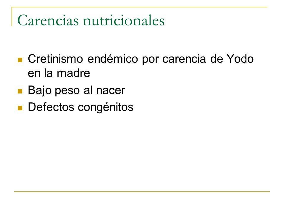 Carencias nutricionales Cretinismo endémico por carencia de Yodo en la madre Bajo peso al nacer Defectos congénitos