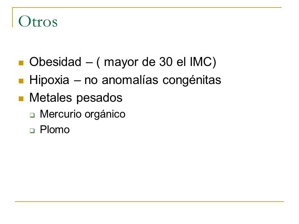 Otros Obesidad – ( mayor de 30 el IMC) Hipoxia – no anomalías congénitas Metales pesados Mercurio orgánico Plomo