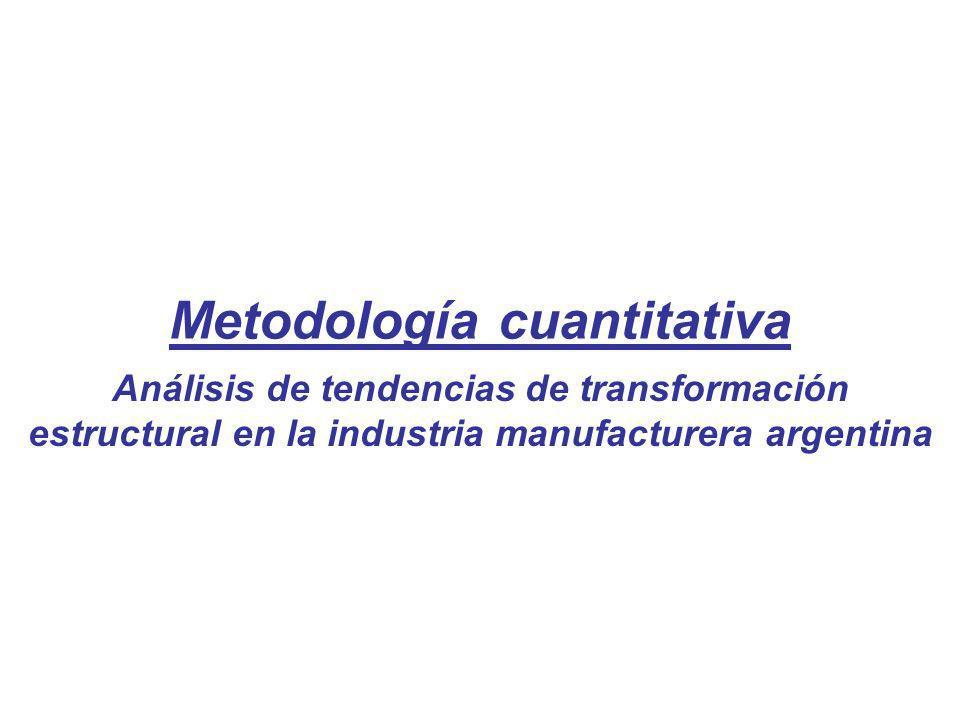 Metodología cuantitativa Análisis de tendencias de transformación estructural en la industria manufacturera argentina