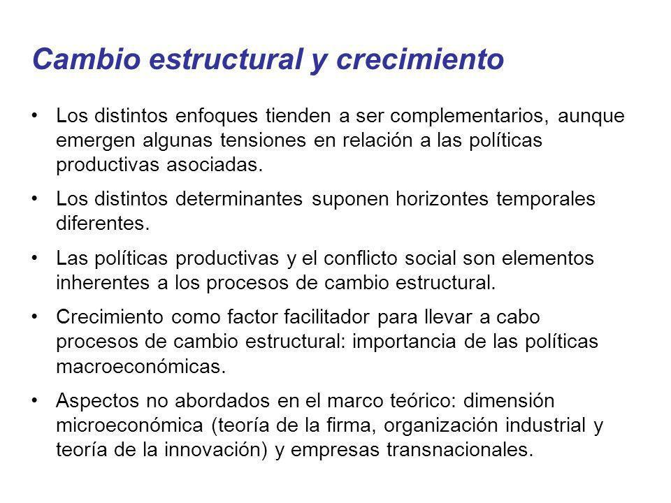Cambio estructural y crecimiento Los distintos enfoques tienden a ser complementarios, aunque emergen algunas tensiones en relación a las políticas pr