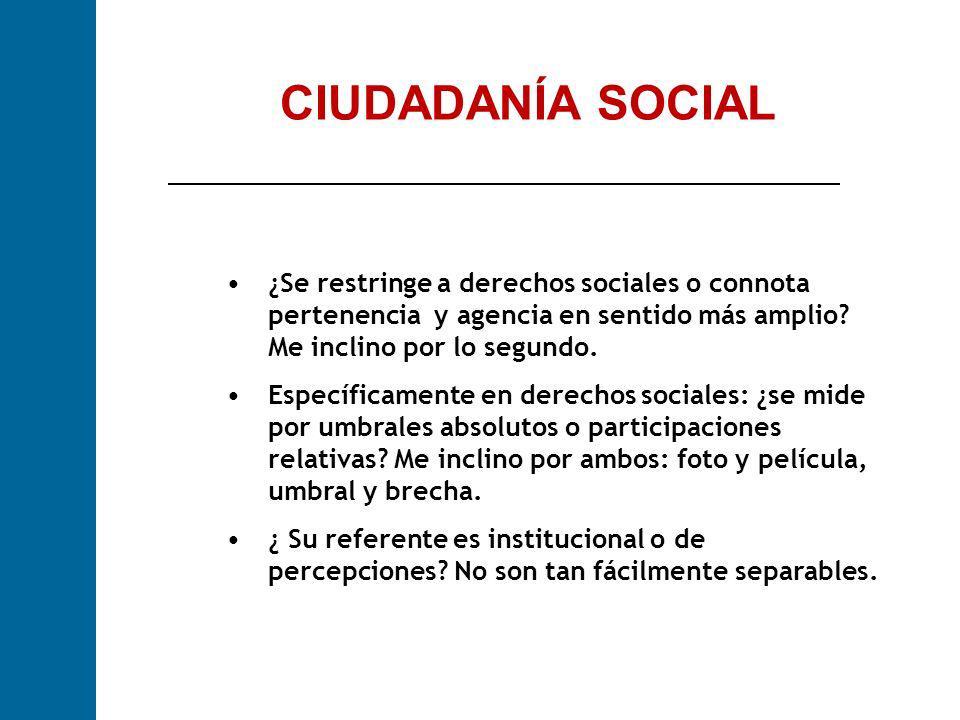 CIUDADANÍA SOCIAL ¿Se restringe a derechos sociales o connota pertenencia y agencia en sentido más amplio? Me inclino por lo segundo. Específicamente