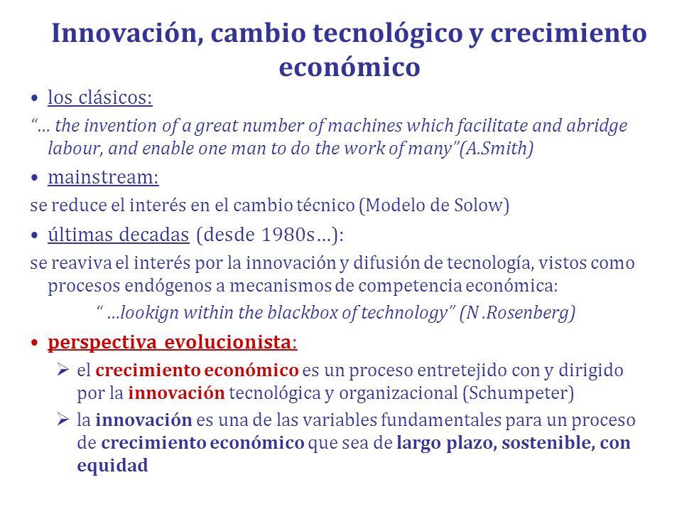 Innovación, cambio tecnológico y crecimiento económico los clásicos: … the invention of a great number of machines which facilitate and abridge labour