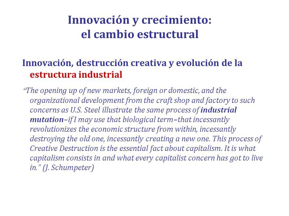 Innovación y crecimiento: el cambio estructural Innovación, destrucción creativa y evolución de la estructura industrial The opening up of new markets