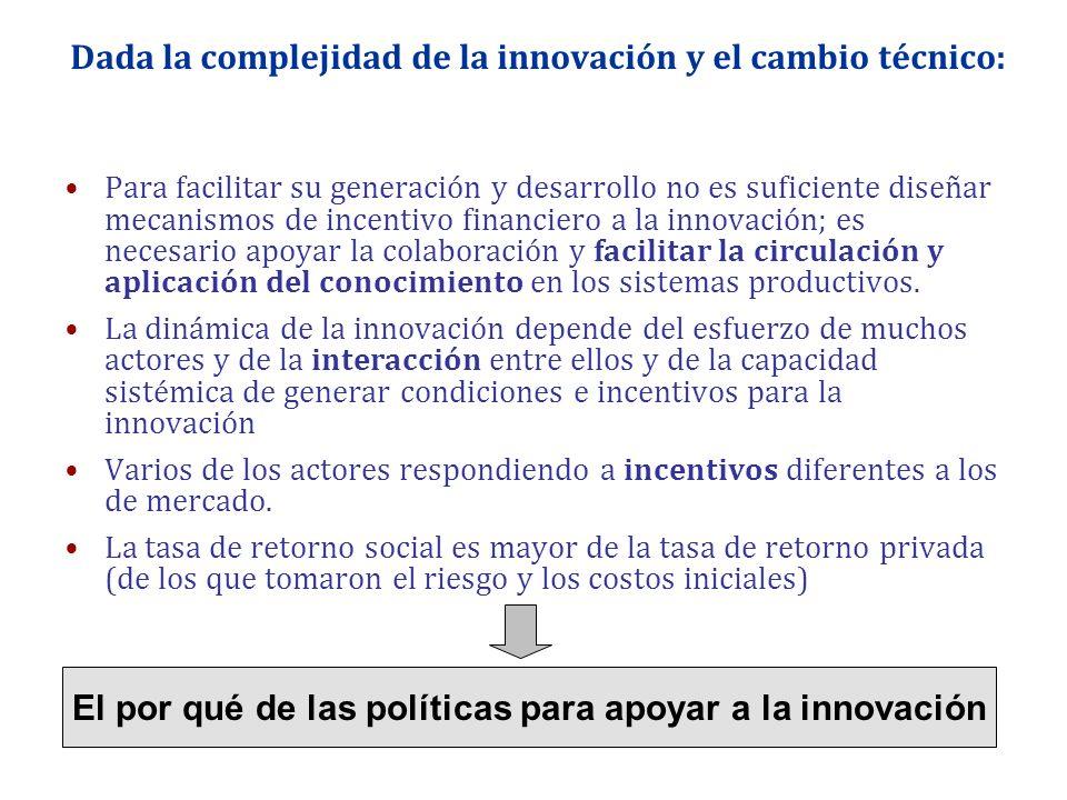 Dada la complejidad de la innovación y el cambio técnico: Para facilitar su generación y desarrollo no es suficiente diseñar mecanismos de incentivo f