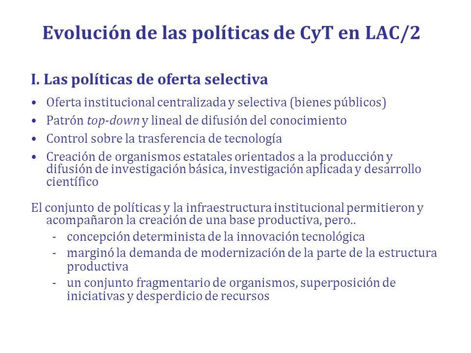 Evolución de las políticas de CyT en LAC/2 I. Las políticas de oferta selectiva Oferta institucional centralizada y selectiva (bienes públicos) Patrón