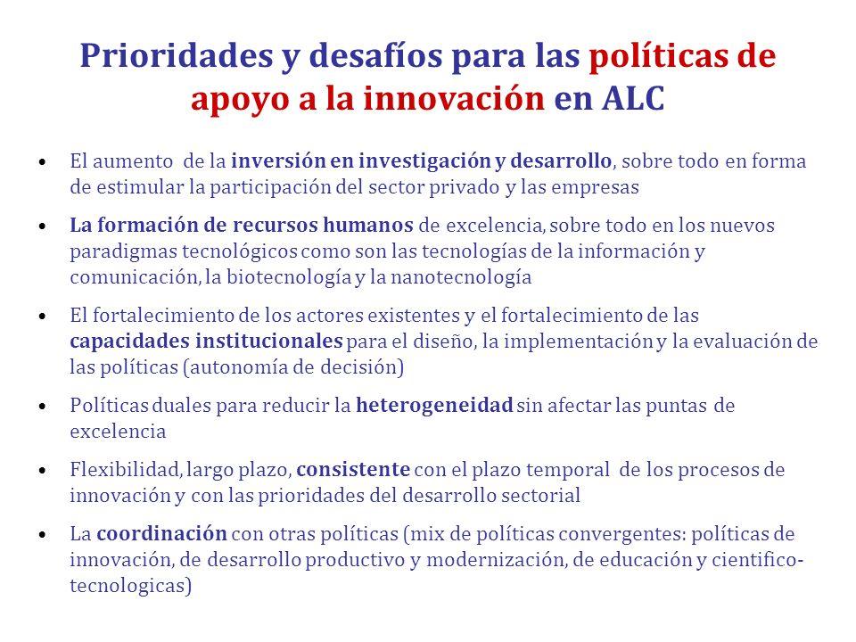 Prioridades y desafíos para las políticas de apoyo a la innovación en ALC El aumento de la inversión en investigación y desarrollo, sobre todo en form