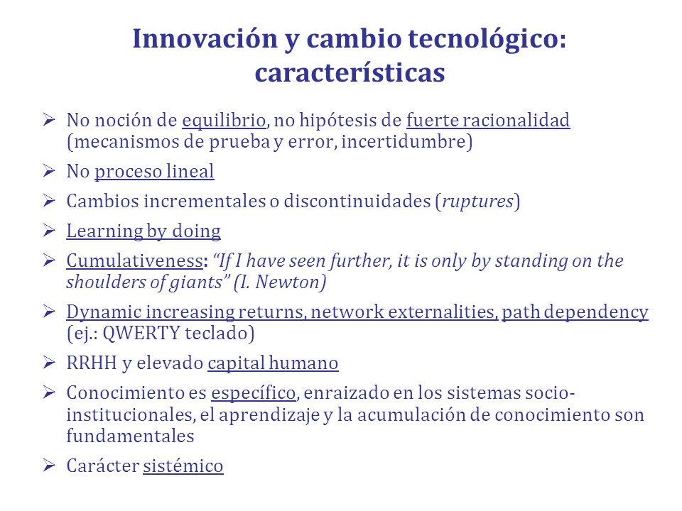 Innovación y cambio tecnológico: características No noción de equilibrio, no hipótesis de fuerte racionalidad (mecanismos de prueba y error, incertidu