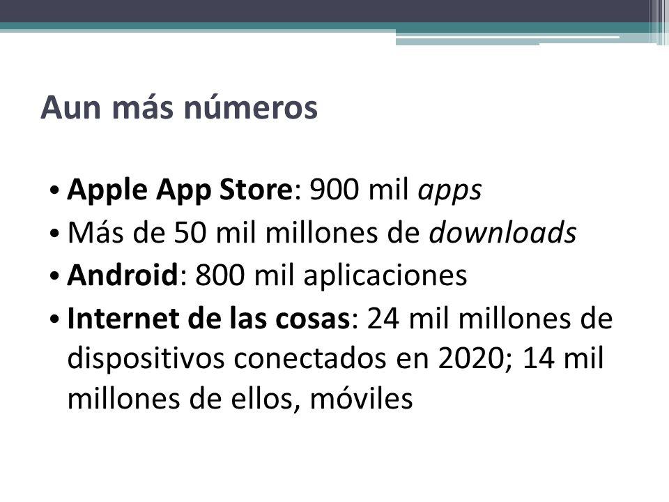 Aun más números Apple App Store: 900 mil apps Más de 50 mil millones de downloads Android: 800 mil aplicaciones Internet de las cosas: 24 mil millones