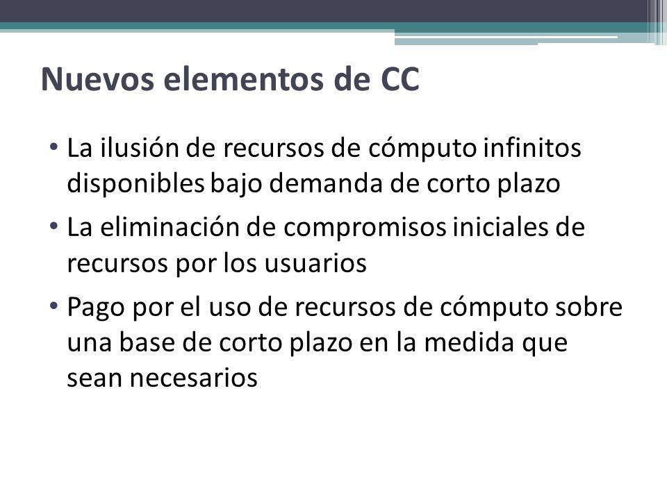 Nuevos elementos de CC La ilusión de recursos de cómputo infinitos disponibles bajo demanda de corto plazo La eliminación de compromisos iniciales de
