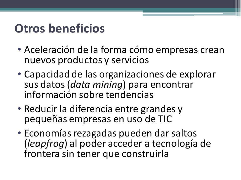Otros beneficios Aceleración de la forma cómo empresas crean nuevos productos y servicios Capacidad de las organizaciones de explorar sus datos (data