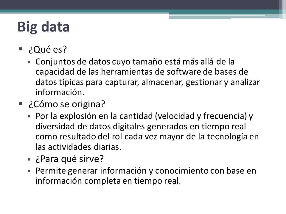 Big data ¿Qué es? Conjuntos de datos cuyo tamaño está más allá de la capacidad de las herramientas de software de bases de datos típicas para capturar