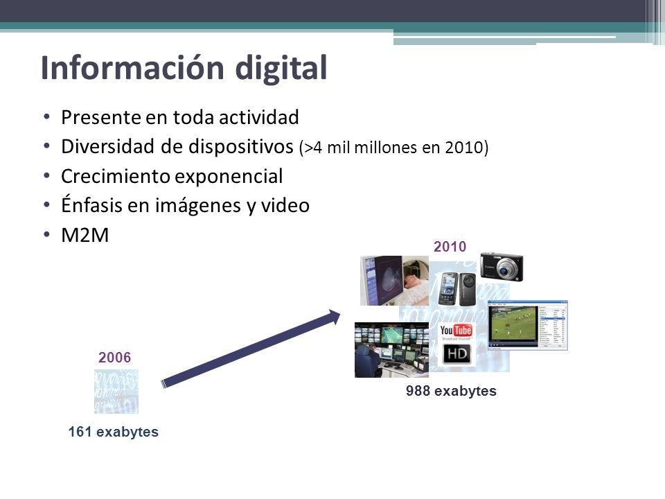 Información digital Presente en toda actividad Diversidad de dispositivos (>4 mil millones en 2010) Crecimiento exponencial Énfasis en imágenes y vide