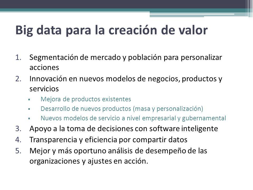 Big data para la creación de valor 1.Segmentación de mercado y población para personalizar acciones 2.Innovación en nuevos modelos de negocios, produc