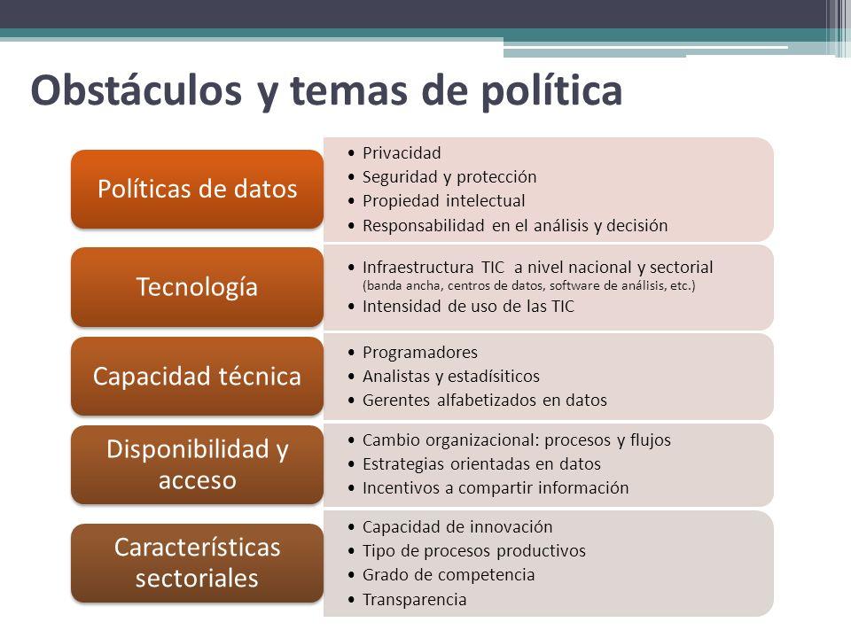 Obstáculos y temas de política Privacidad Seguridad y protección Propiedad intelectual Responsabilidad en el análisis y decisión Políticas de datos In