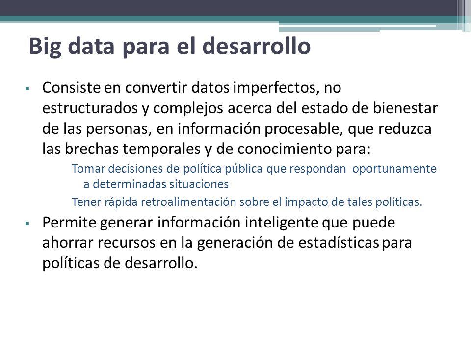 Big data para el desarrollo Consiste en convertir datos imperfectos, no estructurados y complejos acerca del estado de bienestar de las personas, en i