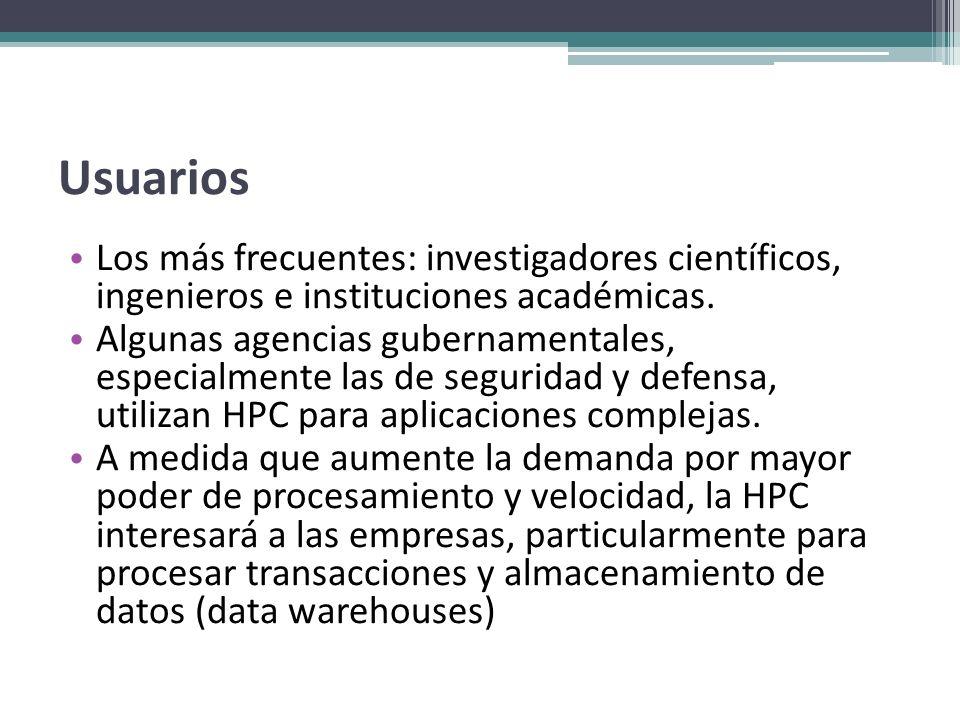 Usuarios Los más frecuentes: investigadores científicos, ingenieros e instituciones académicas. Algunas agencias gubernamentales, especialmente las de