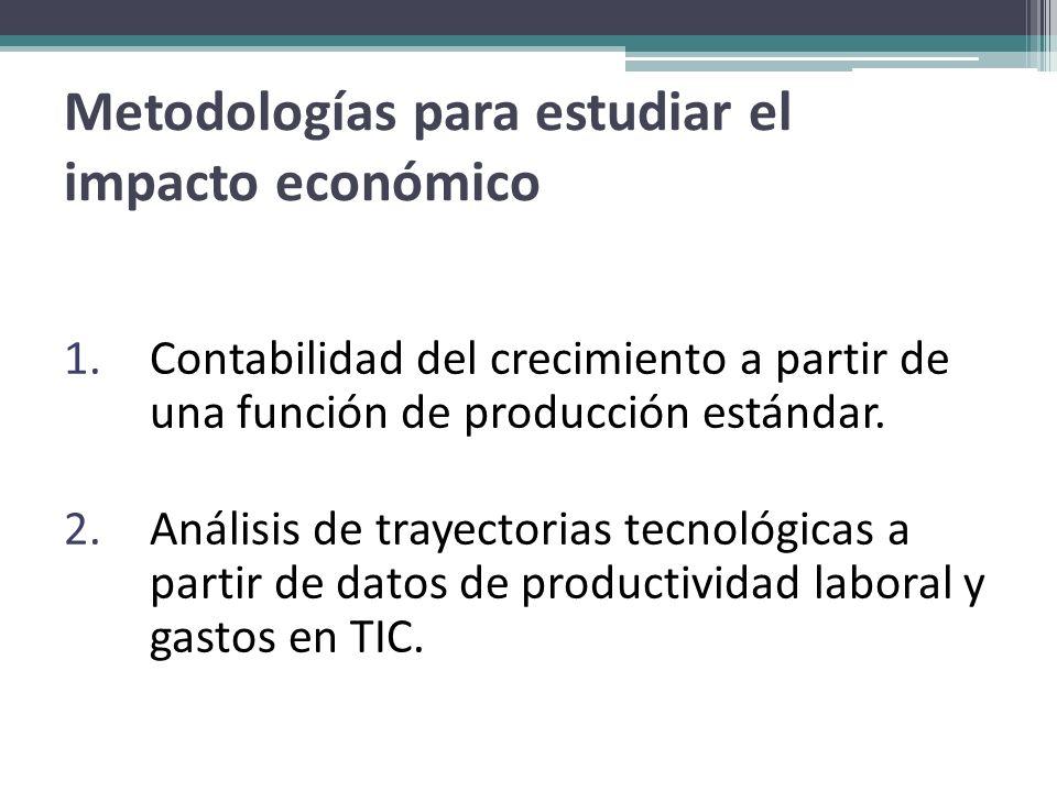 Metodologías para estudiar el impacto económico 1.Contabilidad del crecimiento a partir de una función de producción estándar. 2.Análisis de trayector
