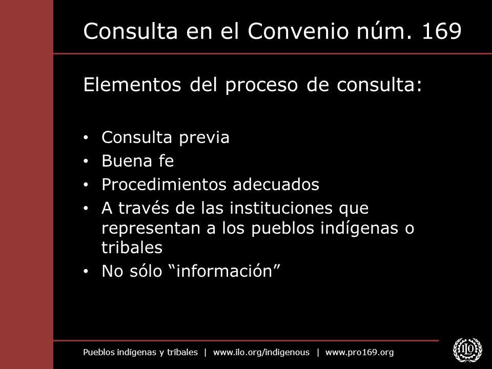 Pueblos indígenas y tribales | www.ilo.org/indigenous | www.pro169.org Consulta en el Convenio núm. 169 Elementos del proceso de consulta: Consulta pr