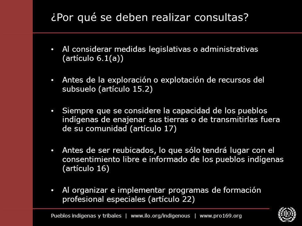 Pueblos indígenas y tribales | www.ilo.org/indigenous | www.pro169.org ¿Por qué se deben realizar consultas? Al considerar medidas legislativas o admi