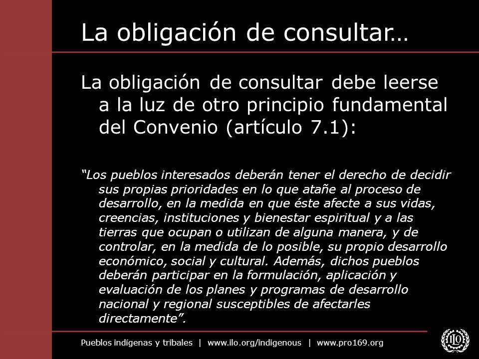Pueblos indígenas y tribales | www.ilo.org/indigenous | www.pro169.org La obligación de consultar… La obligación de consultar debe leerse a la luz de