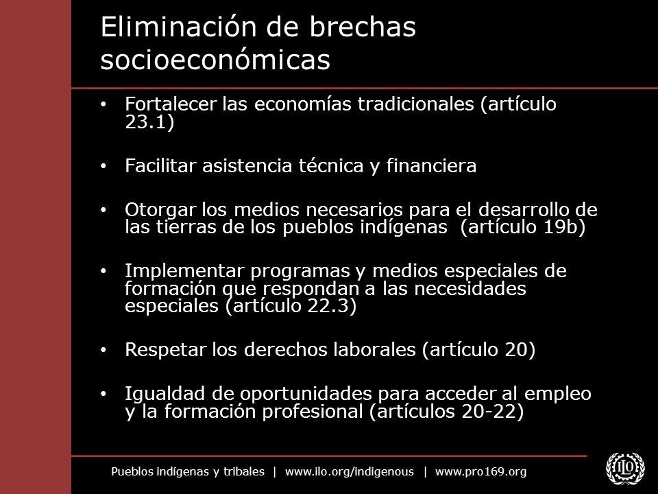 Pueblos indígenas y tribales   www.ilo.org/indigenous   www.pro169.org Eliminación de brechas socioeconómicas Fortalecer las economías tradicionales (